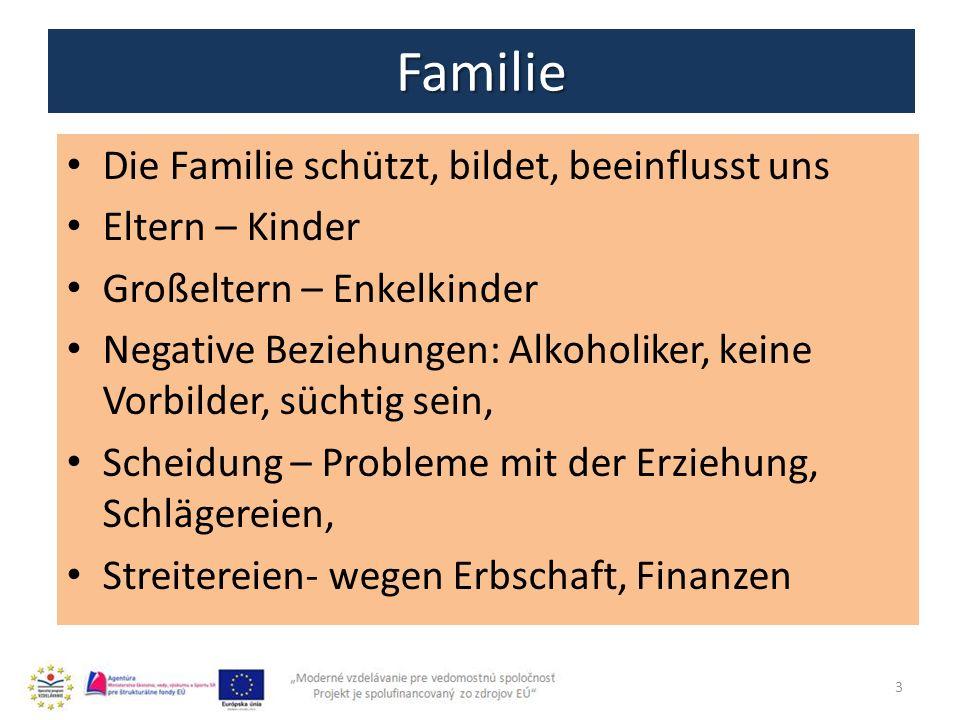 Familie Die Familie schützt, bildet, beeinflusst uns Eltern – Kinder Großeltern – Enkelkinder Negative Beziehungen: Alkoholiker, keine Vorbilder, süch