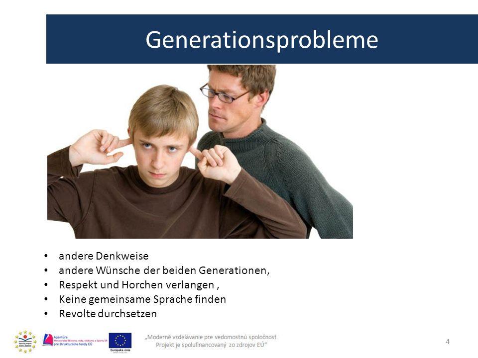 4 Generationsprobleme andere Denkweise andere Wünsche der beiden Generationen, Respekt und Horchen verlangen, Keine gemeinsame Sprache finden Revolte