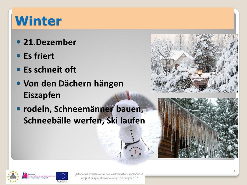 Winter 7 21.Dezember Es friert Es schneit oft Von den Dächern hängen Eiszapfen rodeln, Schneemänner bauen, Schneebälle werfen, Ski laufen