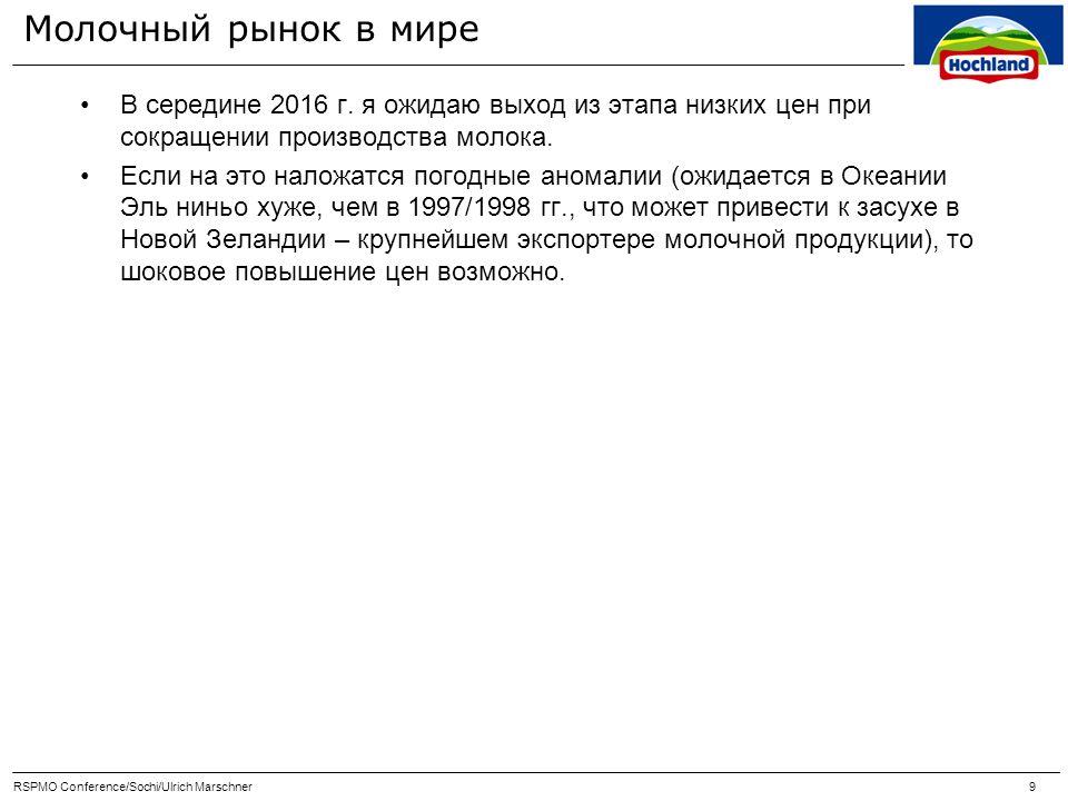 Молочный рынок в России Цены на молоко в РФ в течение 2014 г.