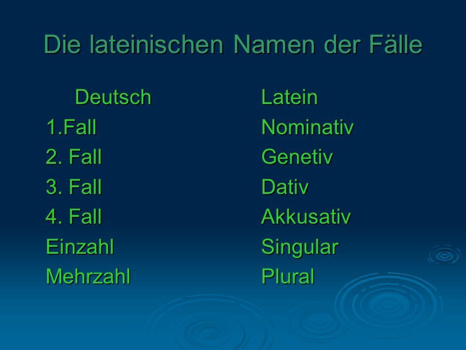 Die lateinischen Namen der Fälle DeutschLatein 1.FallNominativ 2. FallGenetiv 3. FallDativ 4. FallAkkusativ EinzahlSingular MehrzahlPlural