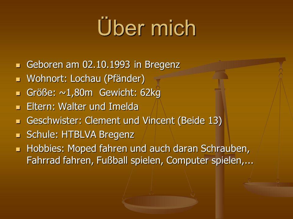 Über mich Geboren am 02.10.1993 in Bregenz Geboren am 02.10.1993 in Bregenz Wohnort: Lochau (Pfänder) Wohnort: Lochau (Pfänder) Größe: ~1,80m Gewicht:
