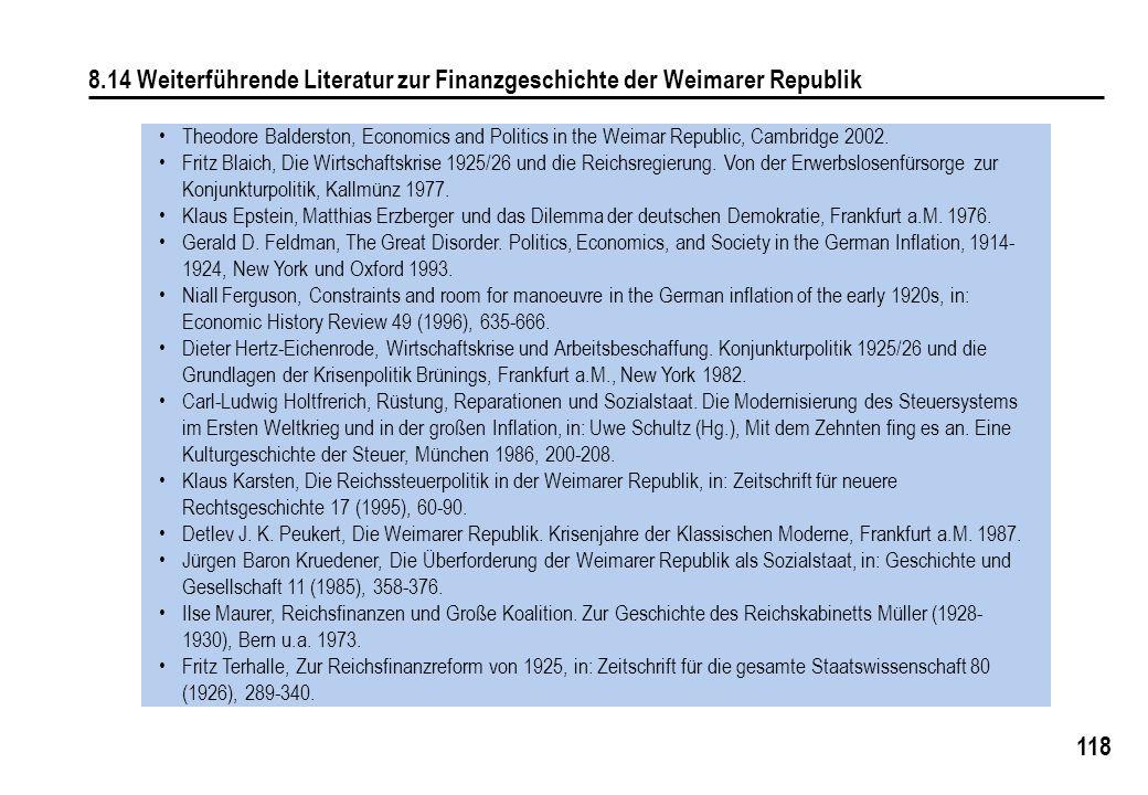 118 8.14 Weiterführende Literatur zur Finanzgeschichte der Weimarer Republik Theodore Balderston, Economics and Politics in the Weimar Republic, Cambridge 2002.