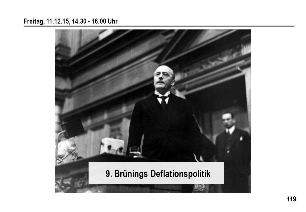 119 Freitag, 11.12.15, 14.30 - 16.00 Uhr 9. Brünings Deflationspolitik