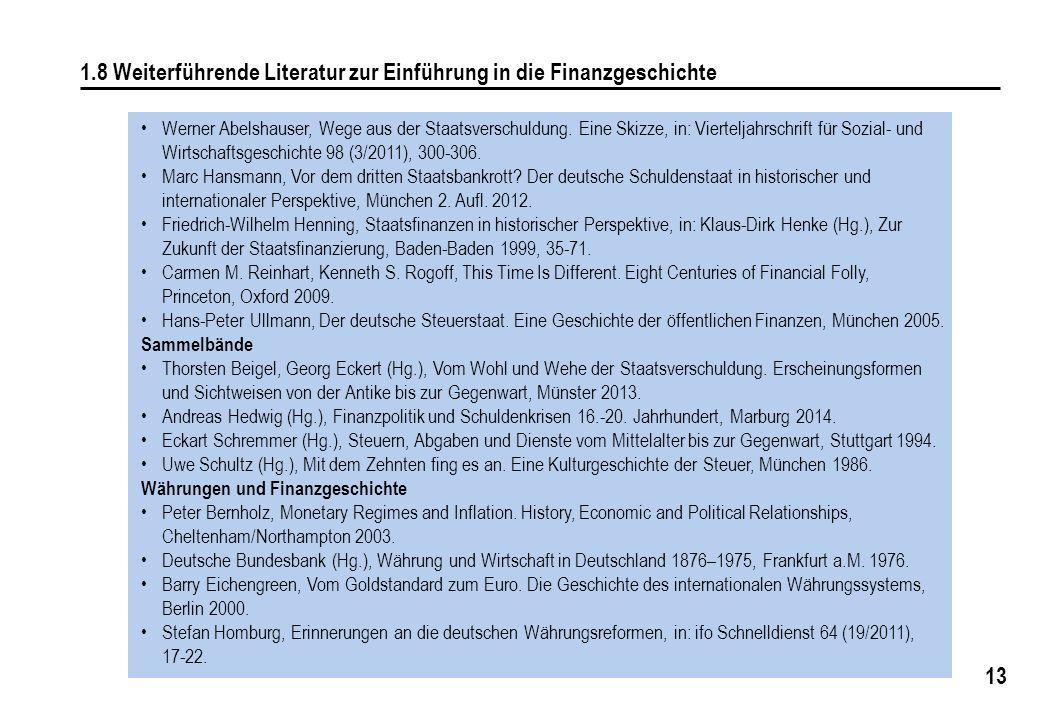 13 1.8 Weiterführende Literatur zur Einführung in die Finanzgeschichte Werner Abelshauser, Wege aus der Staatsverschuldung. Eine Skizze, in: Viertelja