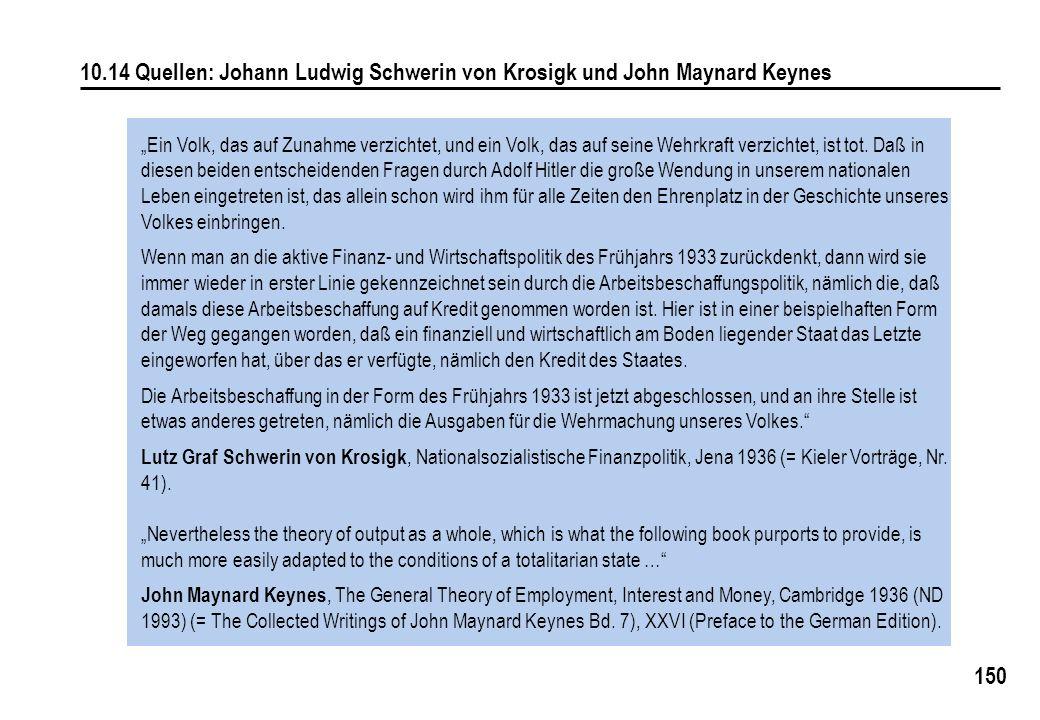 """150 10.14 Quellen: Johann Ludwig Schwerin von Krosigk und John Maynard Keynes """"Ein Volk, das auf Zunahme verzichtet, und ein Volk, das auf seine Wehrk"""