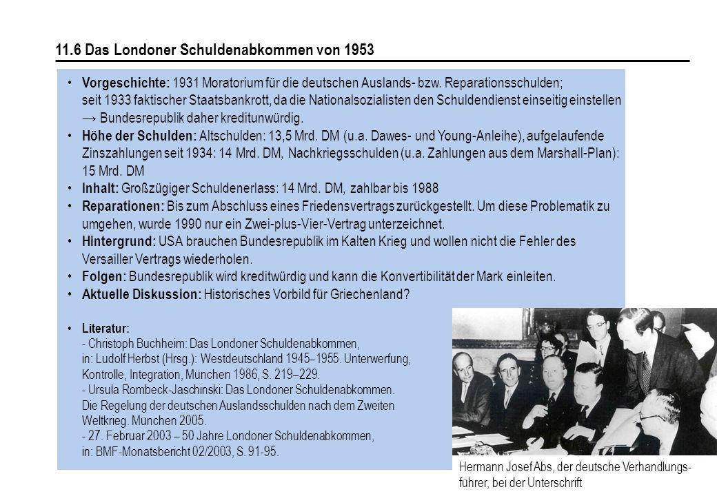 158 11.6 Das Londoner Schuldenabkommen von 1953 Vorgeschichte: 1931 Moratorium für die deutschen Auslands- bzw. Reparationsschulden; seit 1933 faktisc
