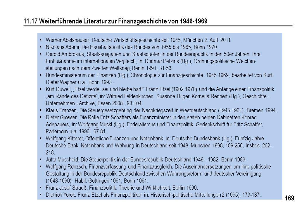 169 11.17 Weiterführende Literatur zur Finanzgeschichte von 1946-1969 Werner Abelshauser, Deutsche Wirtschaftsgeschichte seit 1945, München 2. Aufl. 2
