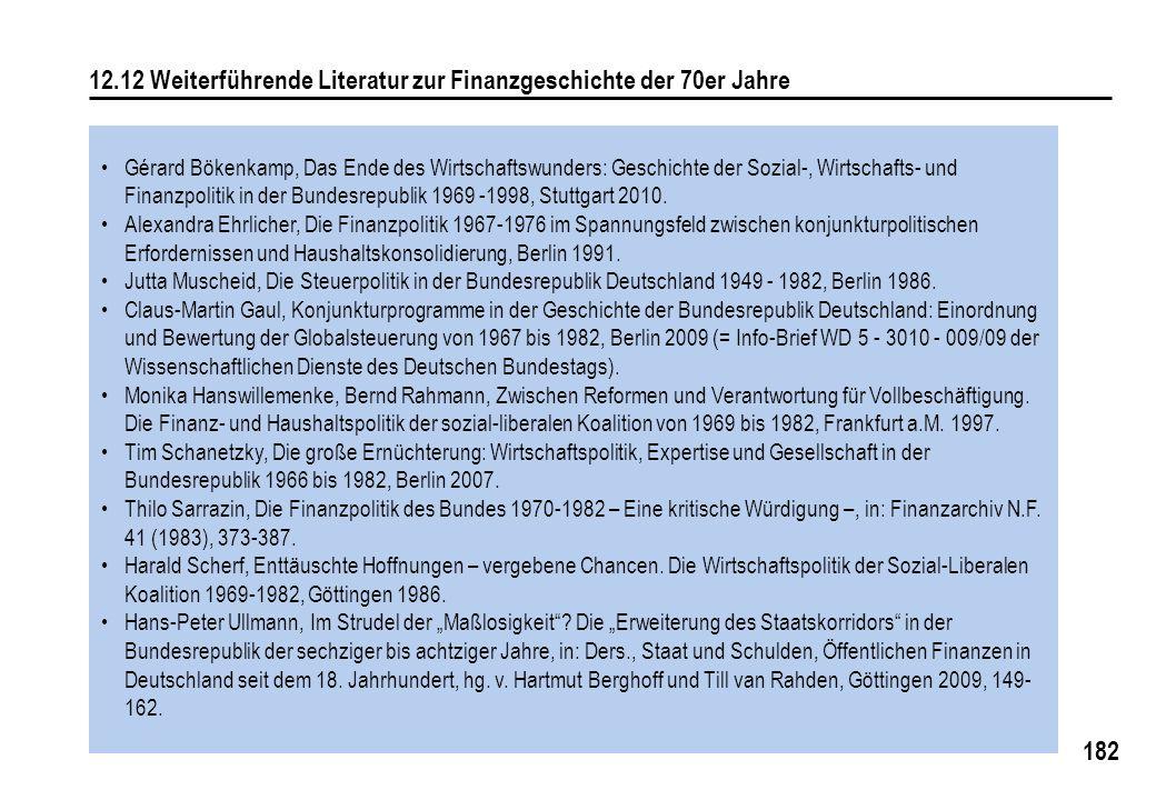 182 12.12 Weiterführende Literatur zur Finanzgeschichte der 70er Jahre Gérard Bökenkamp, Das Ende des Wirtschaftswunders: Geschichte der Sozial-, Wirt