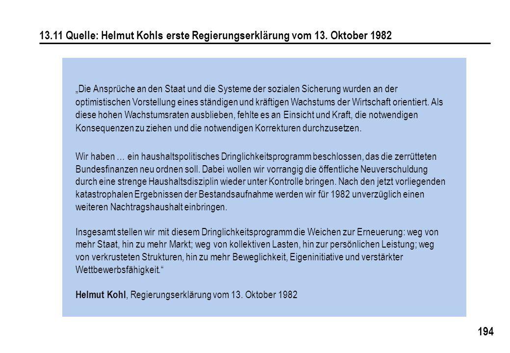 """194 13.11 Quelle: Helmut Kohls erste Regierungserklärung vom 13. Oktober 1982 """"Die Ansprüche an den Staat und die Systeme der sozialen Sicherung wurde"""