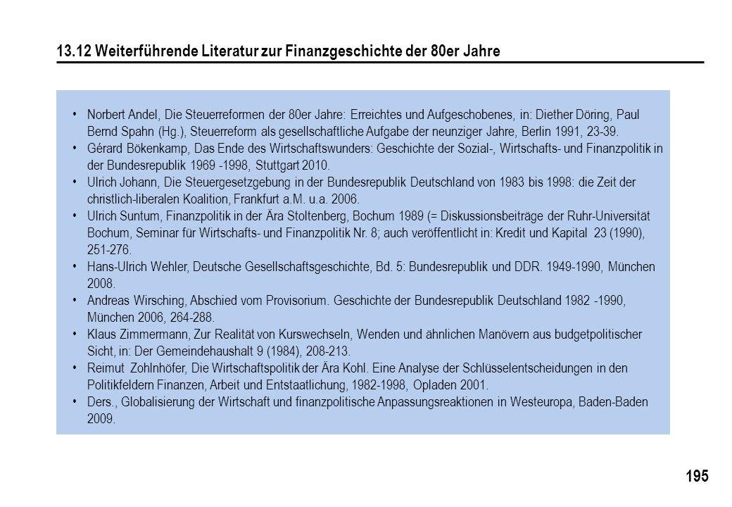 195 13.12 Weiterführende Literatur zur Finanzgeschichte der 80er Jahre Norbert Andel, Die Steuerreformen der 80er Jahre: Erreichtes und Aufgeschobenes