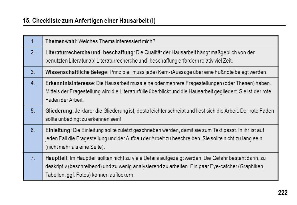 222 15. Checkliste zum Anfertigen einer Hausarbeit (I) 1. Themenwahl: Welches Thema interessiert mich? 2. Literaturrecherche und -beschaffung: Die Qua