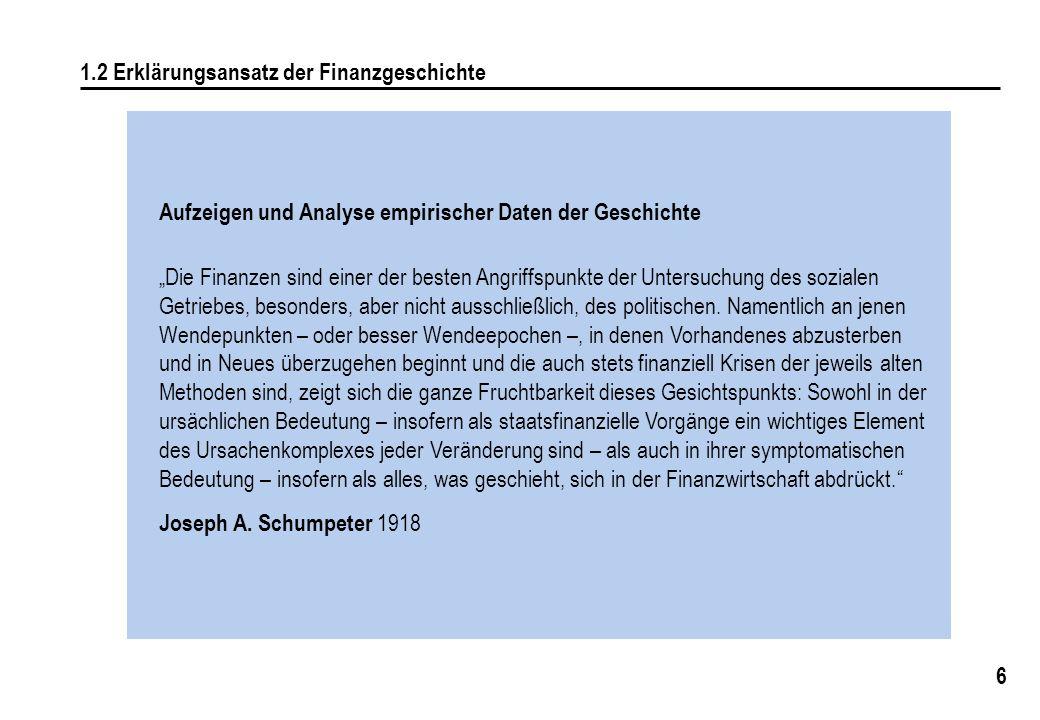 """6 1.2 Erklärungsansatz der Finanzgeschichte Aufzeigen und Analyse empirischer Daten der Geschichte """"Die Finanzen sind einer der besten Angriffspunkte"""