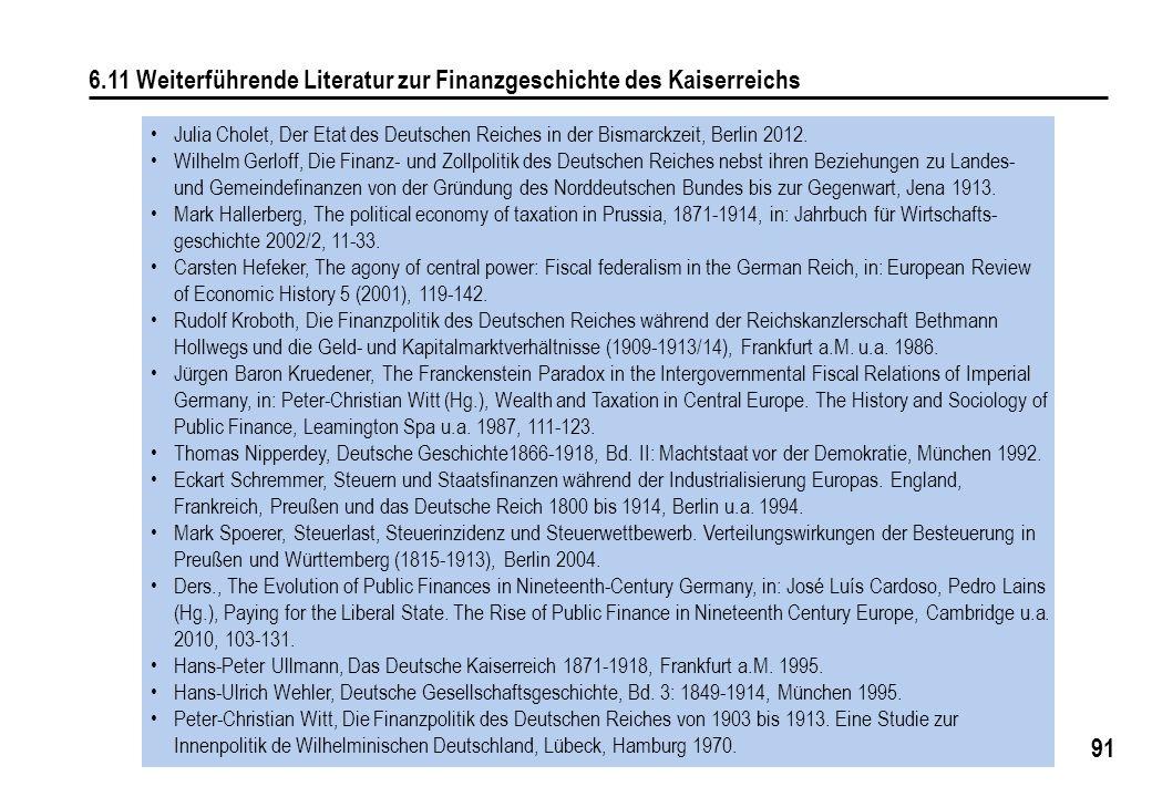 91 6.11 Weiterführende Literatur zur Finanzgeschichte des Kaiserreichs Julia Cholet, Der Etat des Deutschen Reiches in der Bismarckzeit, Berlin 2012.