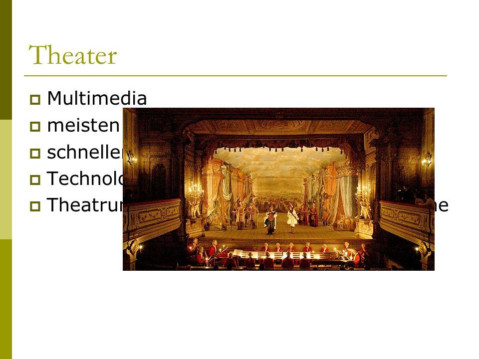 Theater  Multimedia  meisten Technologien werden erfunden  schneller Kulissenwechsel  Technologien beeinflussen Inhalt  Theatrum mundi  die Welt