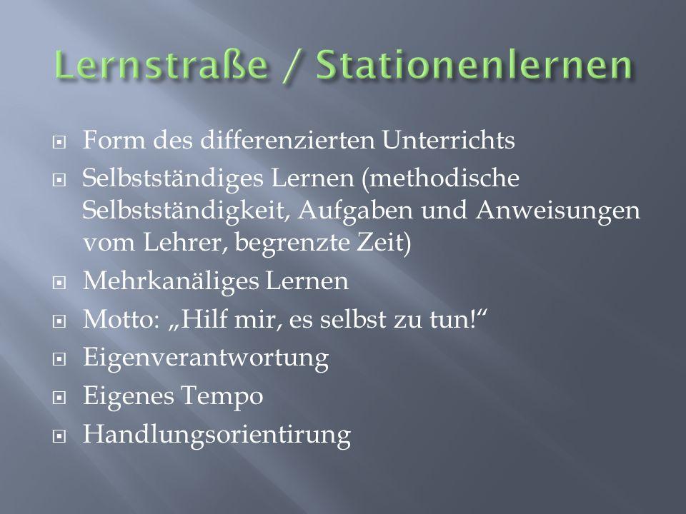  Selbstlontrollemöglichkeiten;  Laufzettel (Nummern der Stationenreihenfolge / der ersten Station)  Mehr Aufgaben als Schüler (sonst bleibt keine Wahl)  Nicht jede Station muss bearbeitet werden