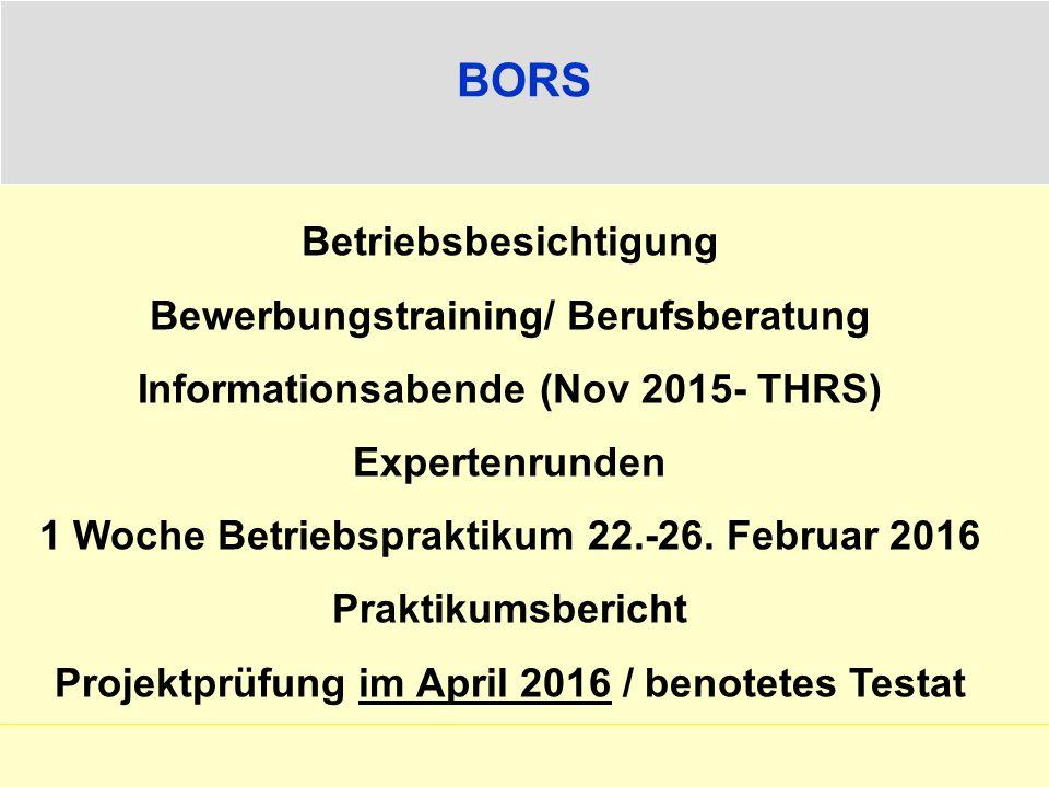 BORS Betriebsbesichtigung Bewerbungstraining/ Berufsberatung Informationsabende (Nov 2015- THRS) Expertenrunden 1 Woche Betriebspraktikum 22.-26.