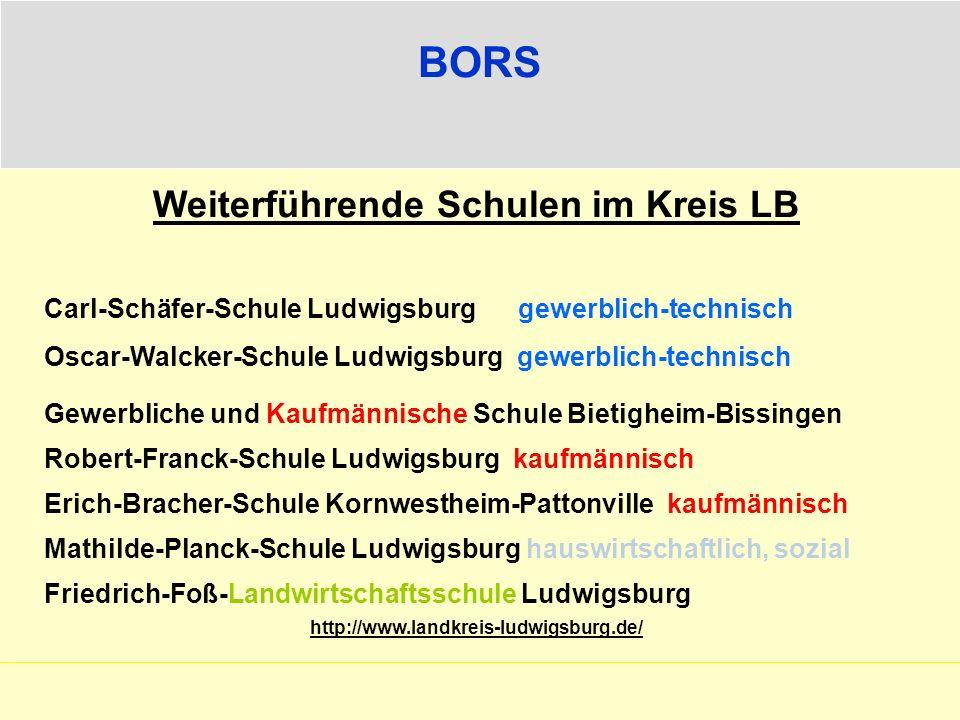 Weiterführende Schulen im Kreis LB Carl-Schäfer-Schule Ludwigsburg gewerblich-technisch Oscar-Walcker-Schule Ludwigsburg gewerblich-technisch Gewerbli