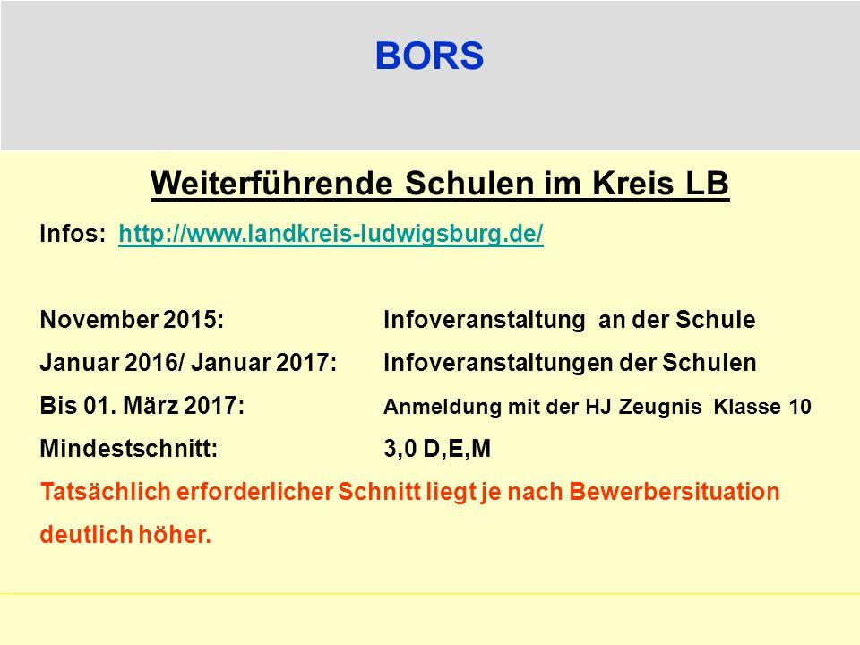 BORS Weiterführende Schulen im Kreis LB Infos: http://www.landkreis-ludwigsburg.de/http://www.landkreis-ludwigsburg.de/ November 2015:Infoveranstaltun