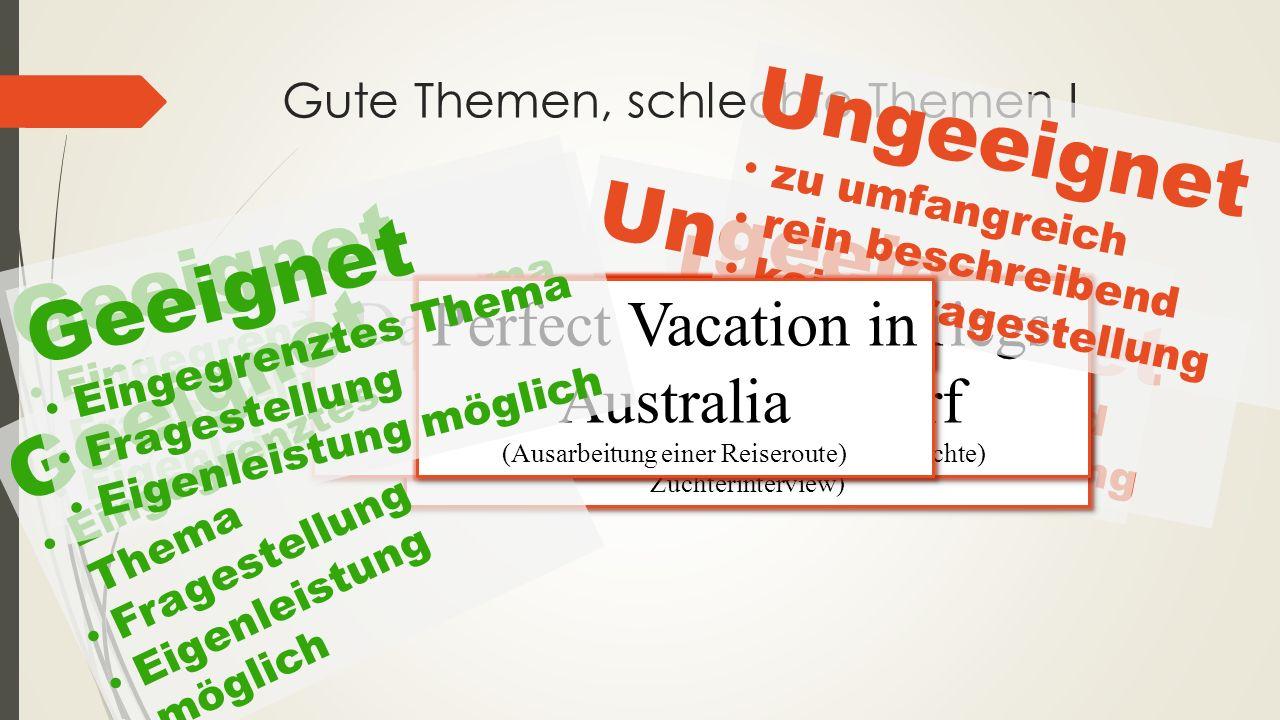  Themenwahl:  Aus Themenpool (Aushang und Homepage)Homepage  Eigenes Thema formulieren – evtl.
