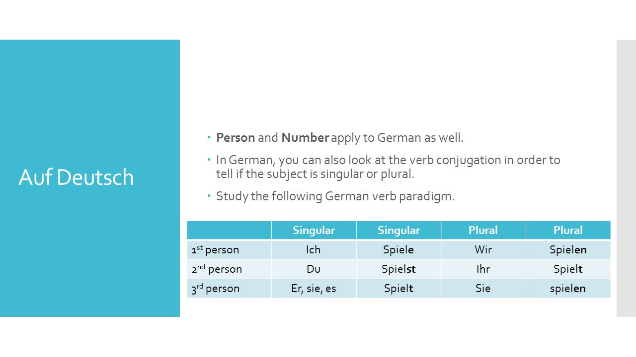 Auf Deutsch  Person and Number apply to German as well.  In German, you can also look at the verb conjugation in order to tell if the subject is sin