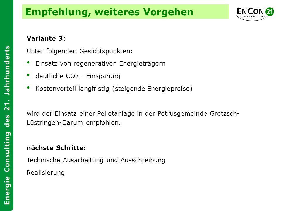 Empfehlung, weiteres Vorgehen Variante 3: Unter folgenden Gesichtspunkten: Einsatz von regenerativen Energieträgern deutliche CO 2 – Einsparung Kosten