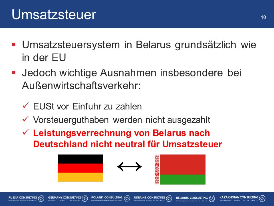  Umsatzsteuersystem in Belarus grundsätzlich wie in der EU  Jedoch wichtige Ausnahmen insbesondere bei Außenwirtschaftsverkehr: EUSt vor Einfuhr zu