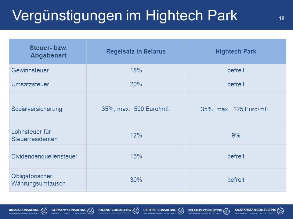 Vergünstigungen im Hightech Park 18 Steuer- bzw. Abgabenart Regelsatz in BelarusHightech Park Gewinnsteuer18%befreit Umsatzsteuer20%befreit Sozialvers