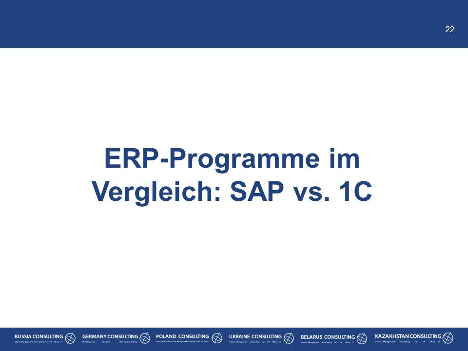 22 ERP-Programme im Vergleich: SAP vs. 1C