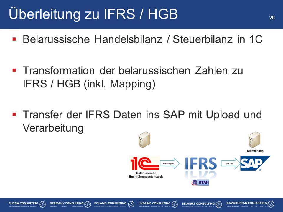  Belarussische Handelsbilanz / Steuerbilanz in 1C  Transformation der belarussischen Zahlen zu IFRS / HGB (inkl. Mapping)  Transfer der IFRS Daten