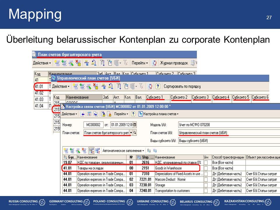 27 Mapping Überleitung belarussischer Kontenplan zu corporate Kontenplan