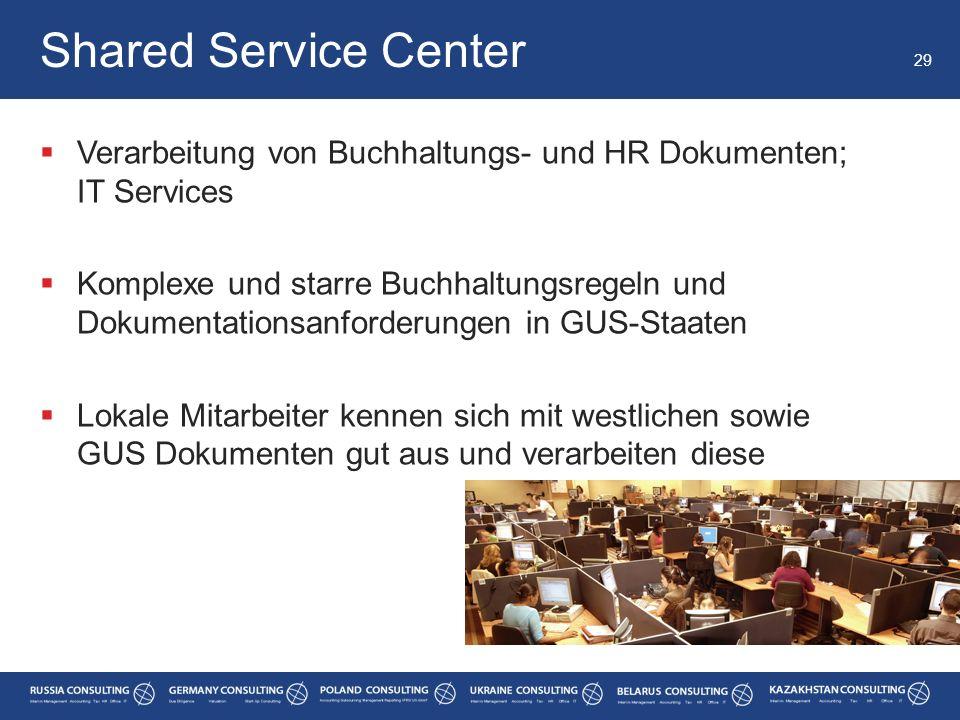  Verarbeitung von Buchhaltungs- und HR Dokumenten; IT Services  Komplexe und starre Buchhaltungsregeln und Dokumentationsanforderungen in GUS-Staate