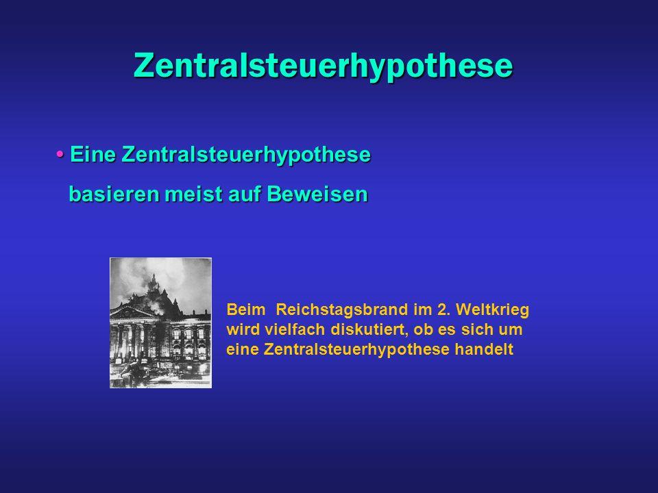 Zentralsteuerhypothese Beim Reichstagsbrand im 2. Weltkrieg wird vielfach diskutiert, ob es sich um eine Zentralsteuerhypothese handelt Eine Zentralst