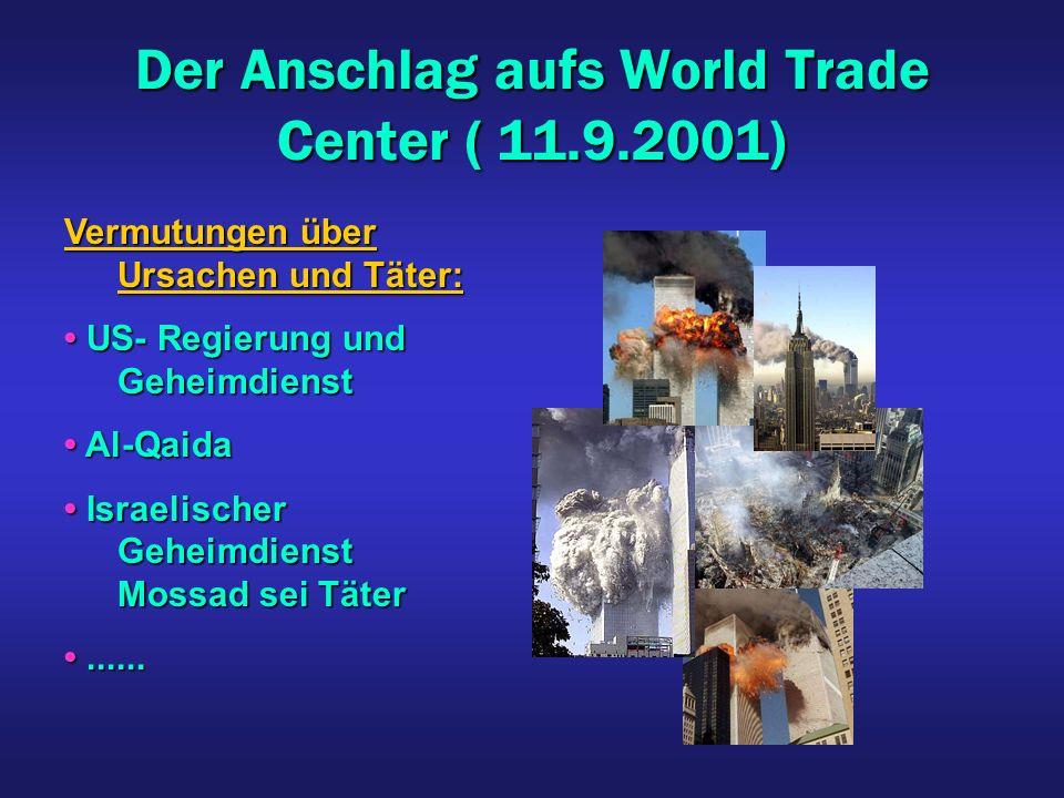 Der Anschlag aufs World Trade Center ( 11.9.2001) Vermutungen über Ursachen und Täter: US- Regierung und Geheimdienst US- Regierung und Geheimdienst A