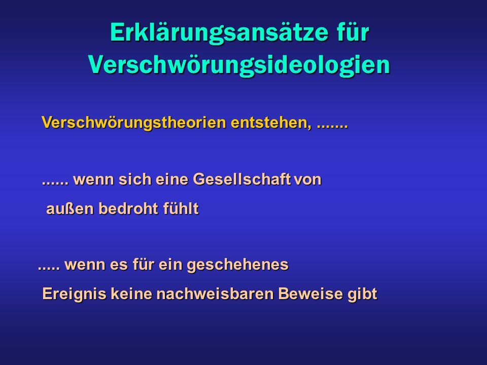 Erklärungsansätze für Verschwörungsideologien Verschwörungstheorien entstehen,............. wenn sich eine Gesellschaft von außen bedroht fühlt außen