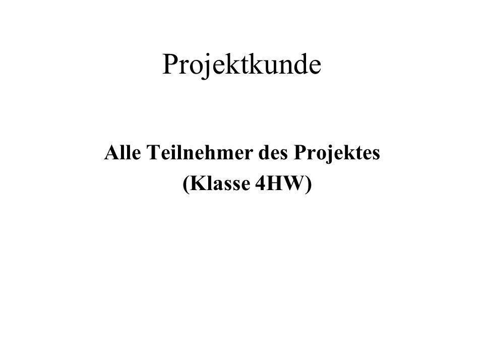 Projektkunde Alle Teilnehmer des Projektes (Klasse 4HW)