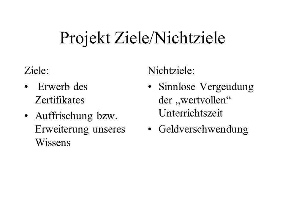 Projekt Ziele/Nichtziele Ziele: Erwerb des Zertifikates Auffrischung bzw.