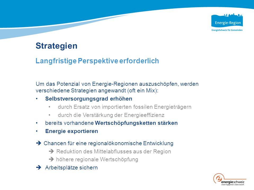 Strategien Langfristige Perspektive erforderlich Um das Potenzial von Energie-Regionen auszuschöpfen, werden verschiedene Strategien angewandt (oft ei