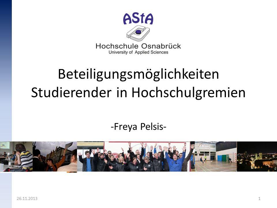 Studentische Beteiligungsformen Vereine – Studentop (Studentische Unternehmensberatung) – VAMOS (Veranstaltungsmanagement in Osnabrück e.V.) – und viele mehr Mentorenprogramme organisiert durch die Hochschule Hochschulgremien 05.12.2013 2
