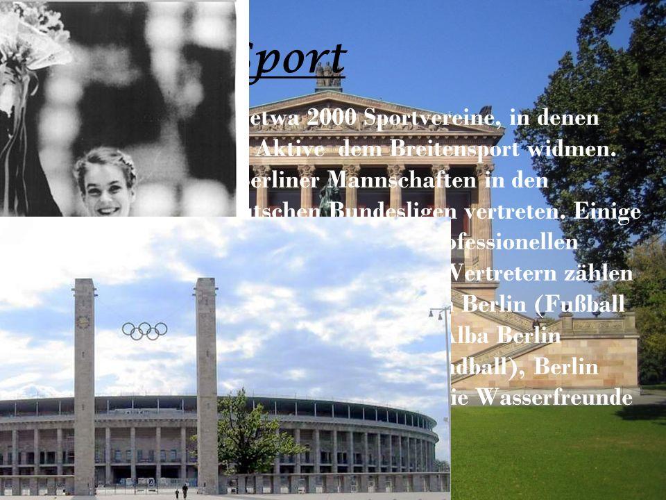 Sport In Berlin gibt es etwa 2000 Sportvereine, in denen sich rund 550 000 Aktive dem Breitensport widmen.