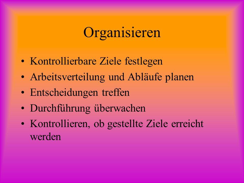 Disposition, Improvisation und Organisation Disposition: Entscheidung ohne starre Regelungen.