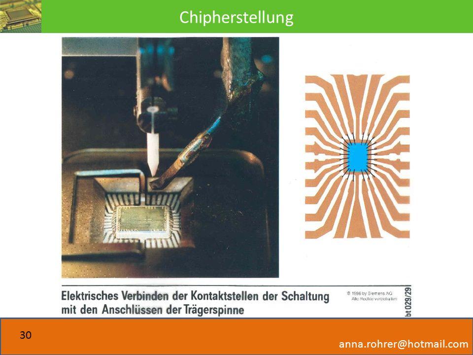 Chipherstellung anna.rohrer@hotmail.com 30