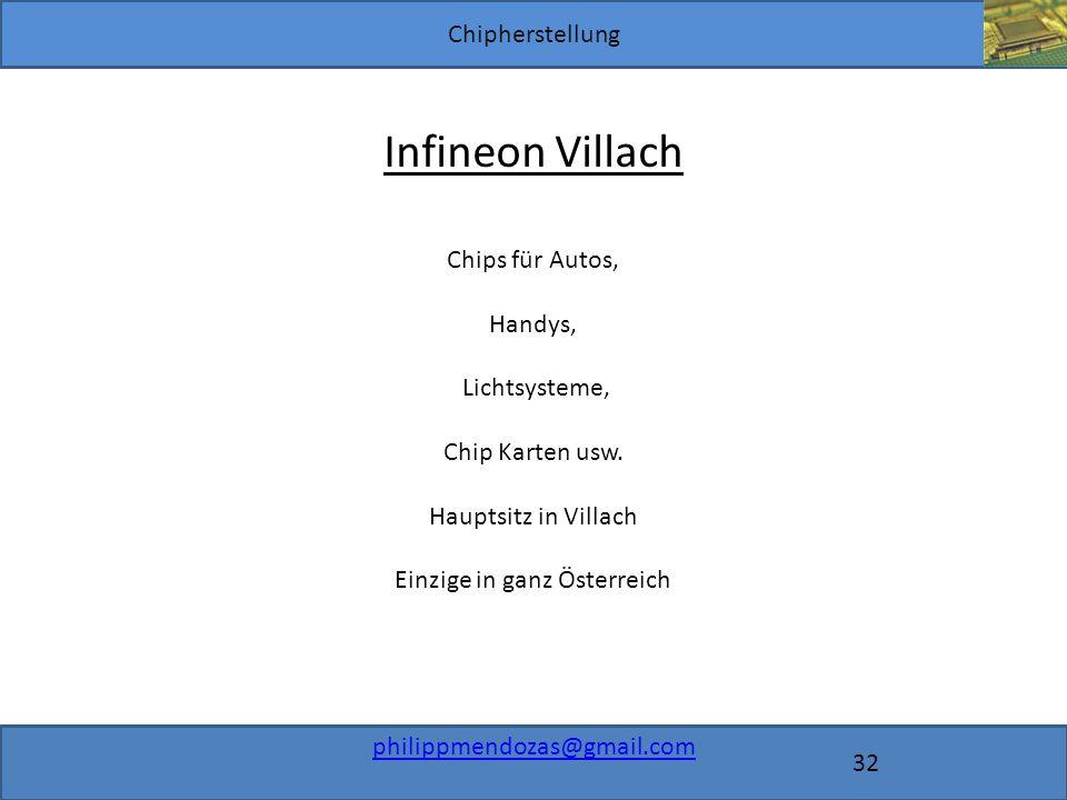 Chipherstellung philippmendozas@gmail.com 32 Infineon Villach Chips für Autos, Handys, Lichtsysteme, Chip Karten usw.