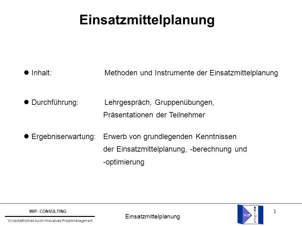 1 Inhalt: Methoden und Instrumente der Einsatzmittelplanung Durchführung: Lehrgespräch, Gruppenübungen, Präsentationen der Teilnehmer Ergebniserwartun