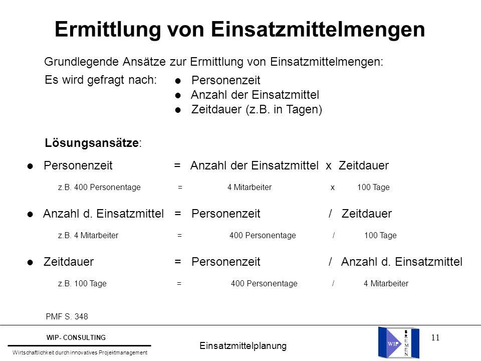 11 Ermittlung von Einsatzmittelmengen PMF S. 348 Grundlegende Ansätze zur Ermittlung von Einsatzmittelmengen: Es wird gefragt nach: l Personenzeit l A