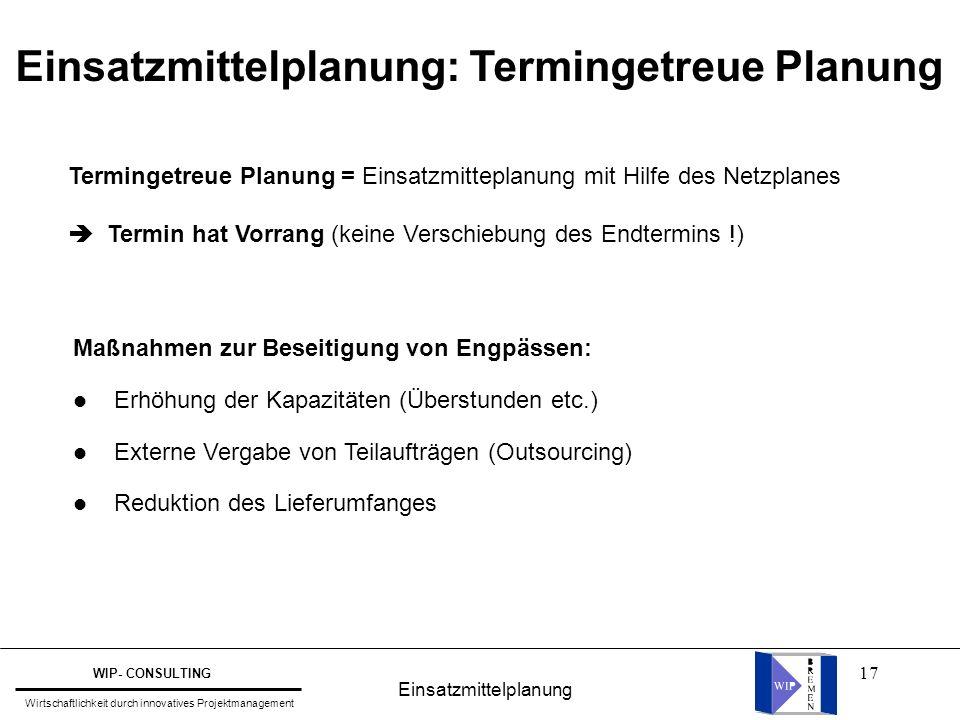 17 Einsatzmittelplanung: Termingetreue Planung Termingetreue Planung = Einsatzmitteplanung mit Hilfe des Netzplanes  Termin hat Vorrang (keine Versch