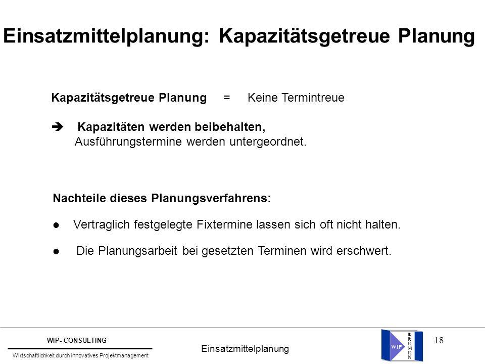 18 Einsatzmittelplanung: Kapazitätsgetreue Planung Kapazitätsgetreue Planung = Keine Termintreue  Kapazitäten werden beibehalten, Ausführungstermine