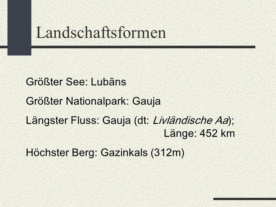 Landschaftsformen Größter See: Lubāns Größter Nationalpark: Gauja Längster Fluss: Gauja (dt: Livländische Aa); Länge: 452 km Höchster Berg: Gazinkals