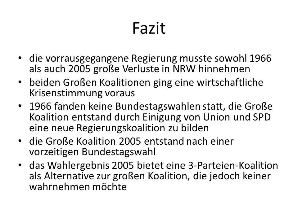 Fazit die vorrausgegangene Regierung musste sowohl 1966 als auch 2005 große Verluste in NRW hinnehmen beiden Großen Koalitionen ging eine wirtschaftli
