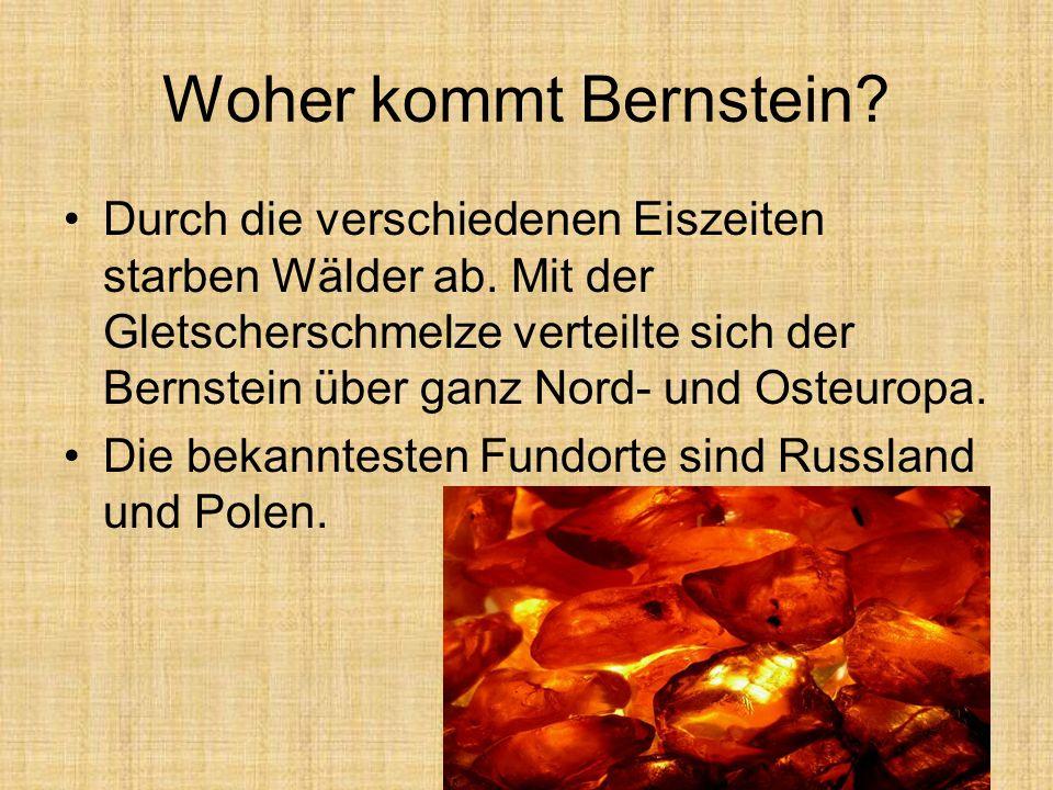 Woher kommt Bernstein? Durch die verschiedenen Eiszeiten starben Wälder ab. Mit der Gletscherschmelze verteilte sich der Bernstein über ganz Nord- und